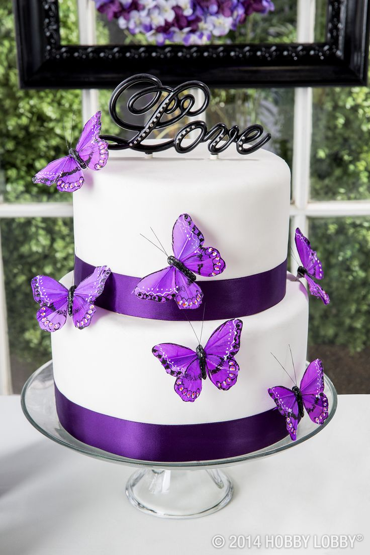 White and Purple Butterfly Wedding Cake