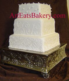 White Square Wedding Cake with Scrolls