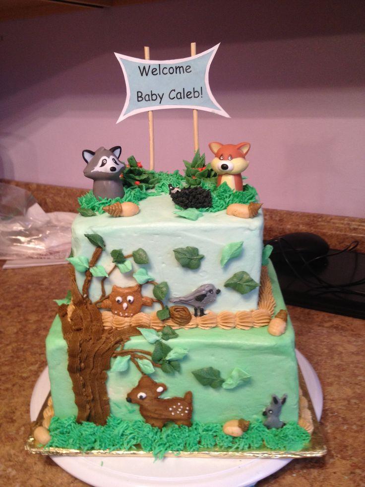 Woodland Animals Baby Shower Cake