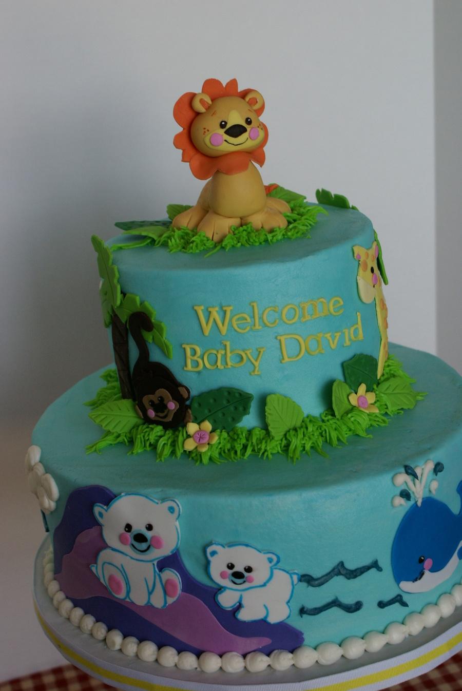 Zoo Animal Baby Shower Cake Boy