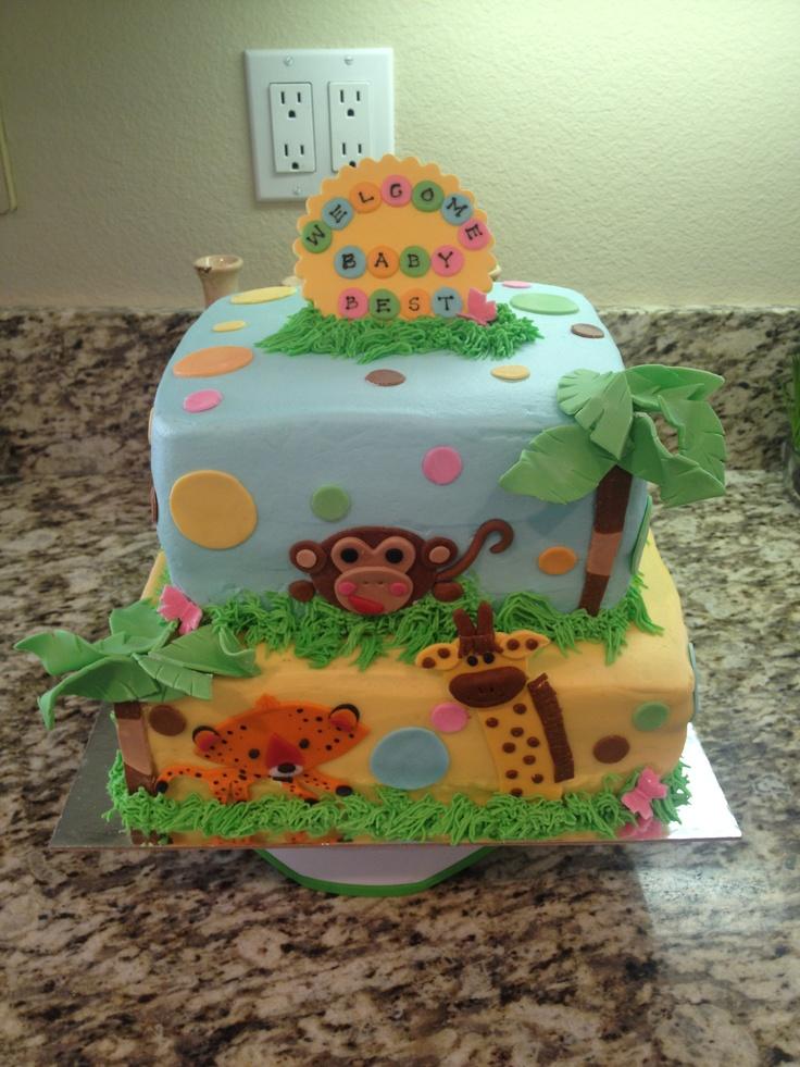 Zoo Animal Baby Shower Cake