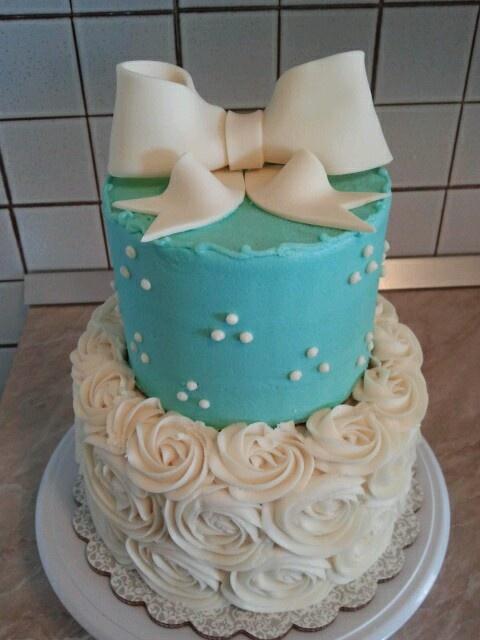 2 Tier Blue Birthday Cake