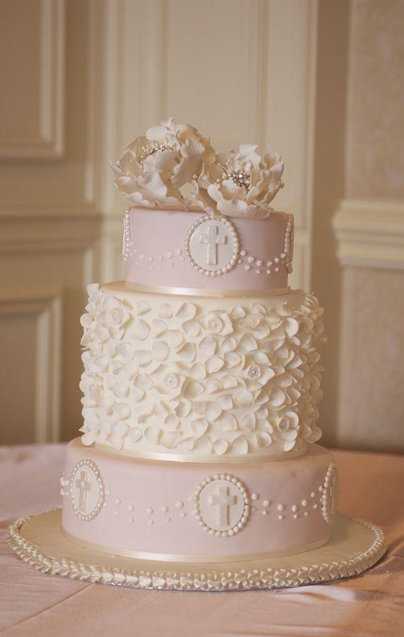 Amazing Pale Pink Christening Cake