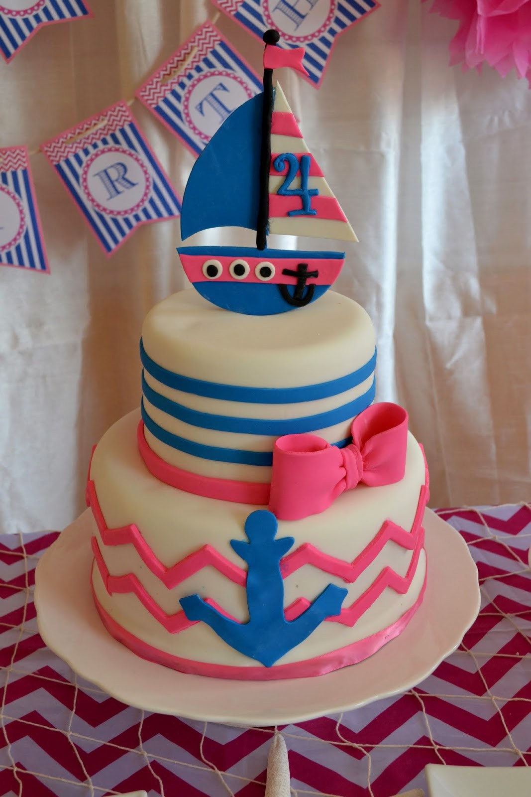 Anchor Girl Birthday Party Cakes