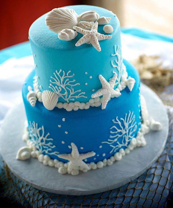 Aqua Beach Wedding Cake