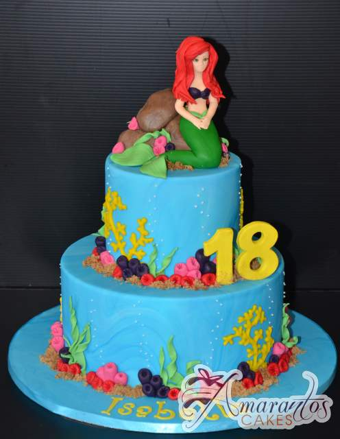 Ariel Mermaid Birthday Cake Two Tier