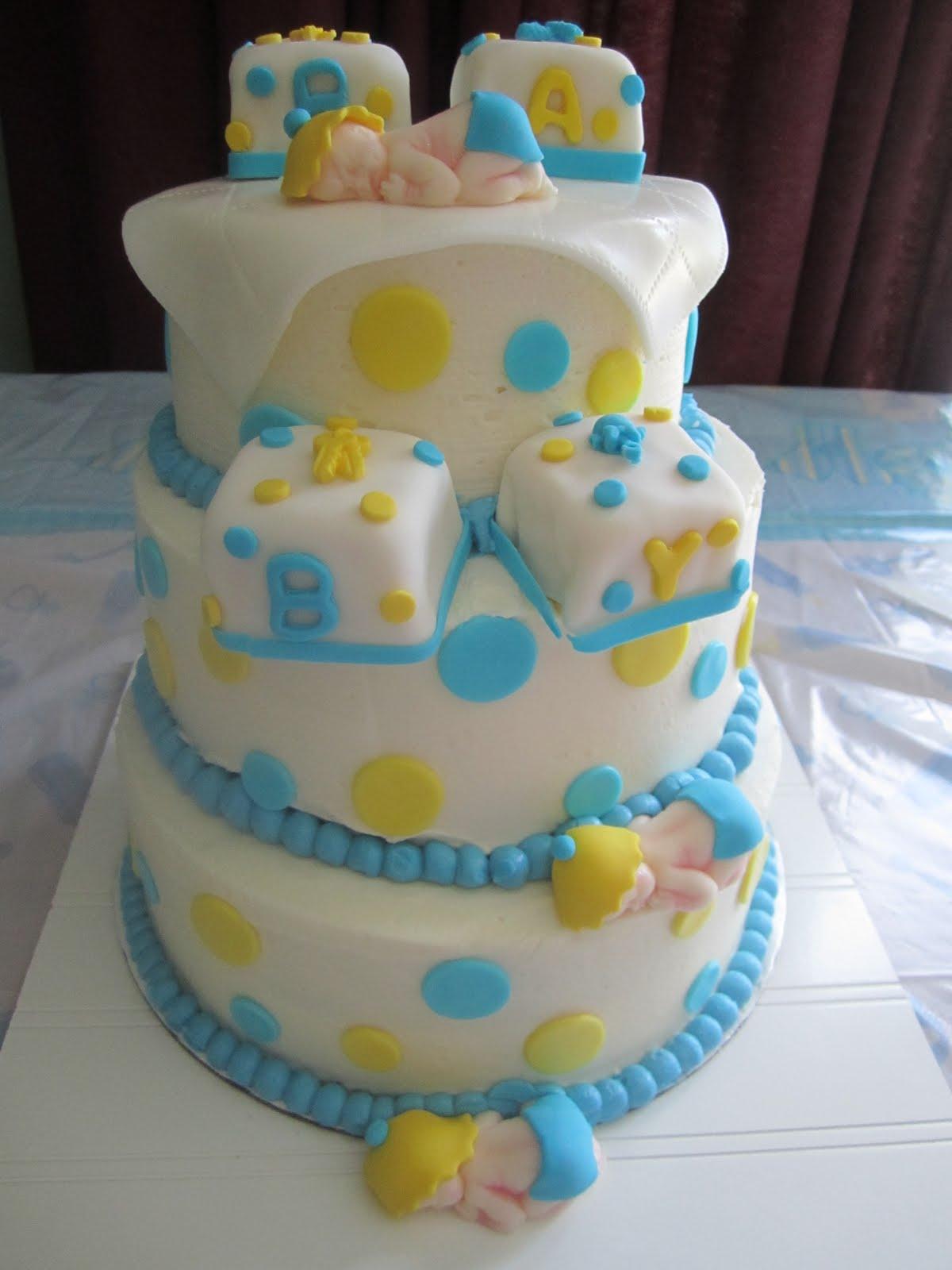 Baby Boy Shower Cakes without Fondant