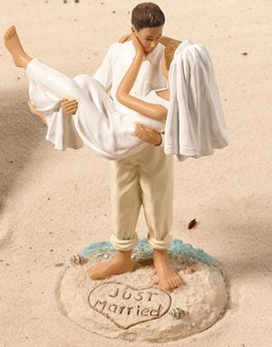 Beach Wedding Couple Cake Topper