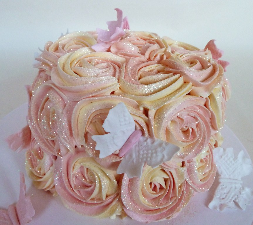 Birthday Cake with Buttercream Roses