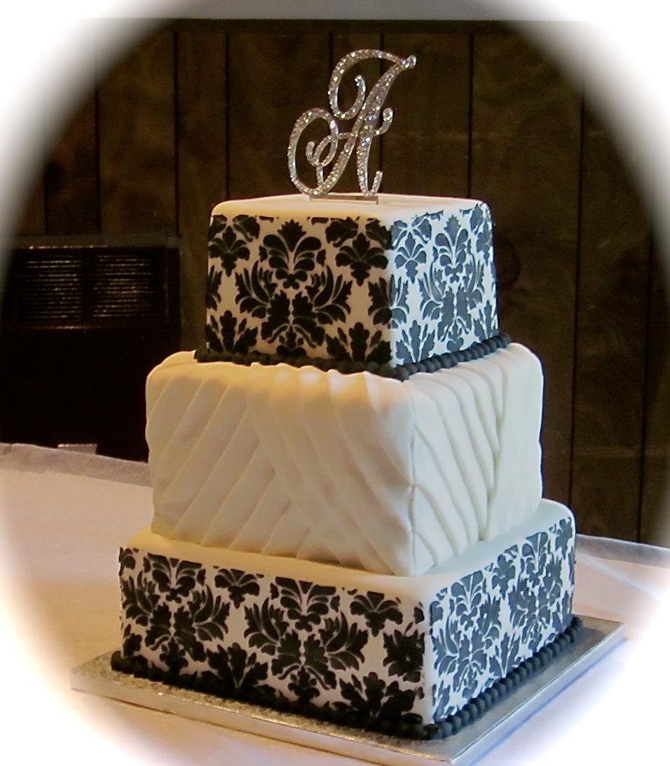 Black and White Damask Wedding Cake