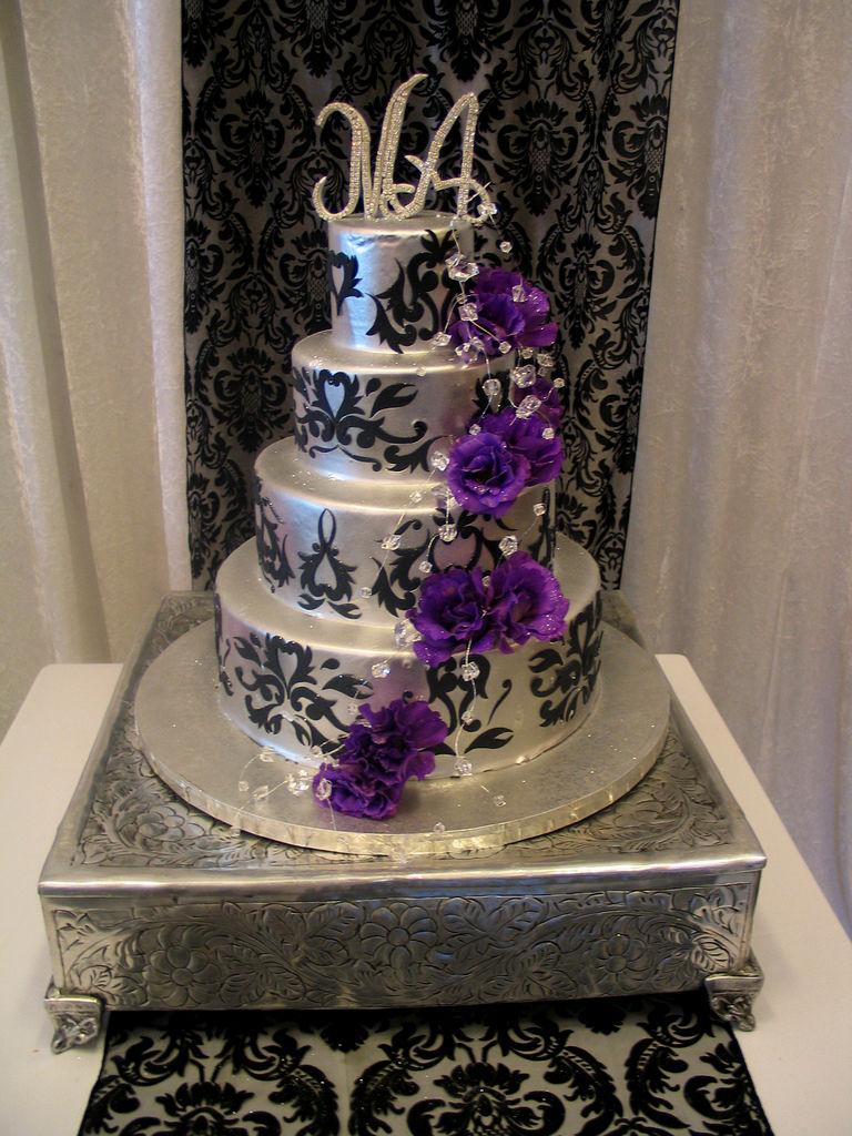 Black Purple and Silver Wedding Cake