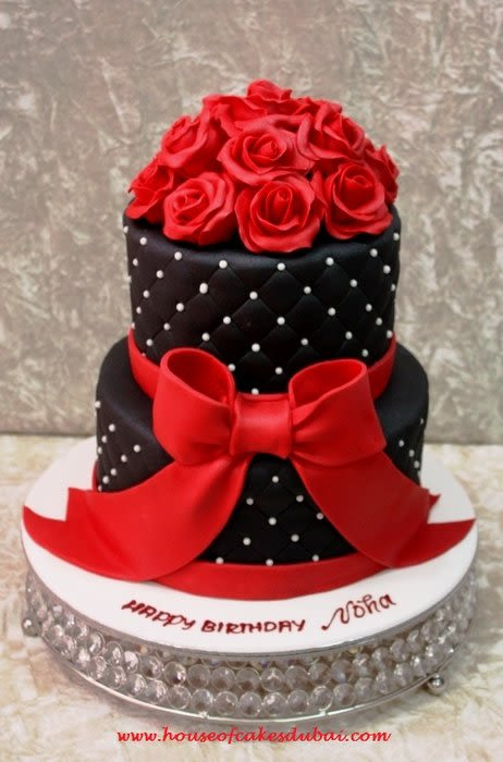 Black with Red Roses Cake