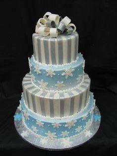 Blue and White Snowflake Wedding Cake