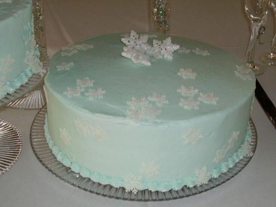 Blue Snowflake Wedding Cake
