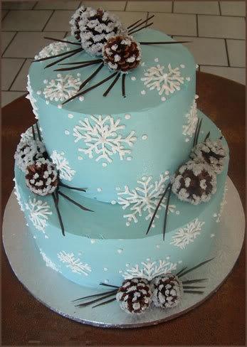 Blue Winter Wedding Snowflake Cake