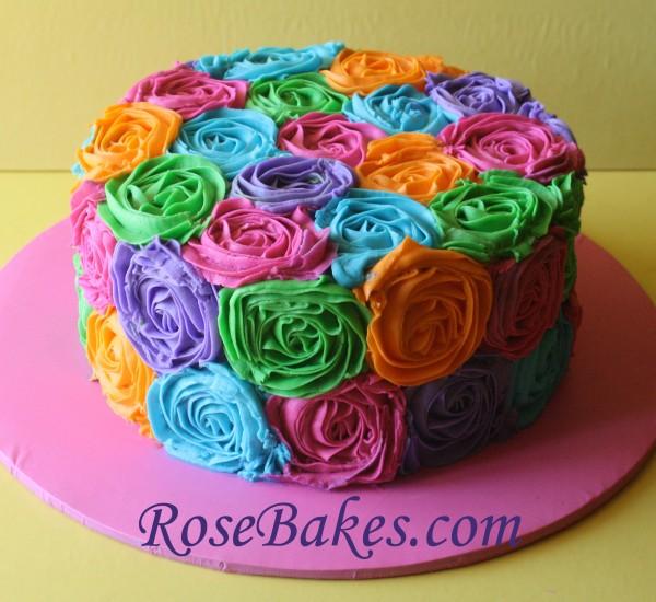 Bright Birthday Cake Buttercream Roses