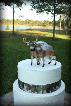 Buck and Doe Heart Wedding Cake Toppers