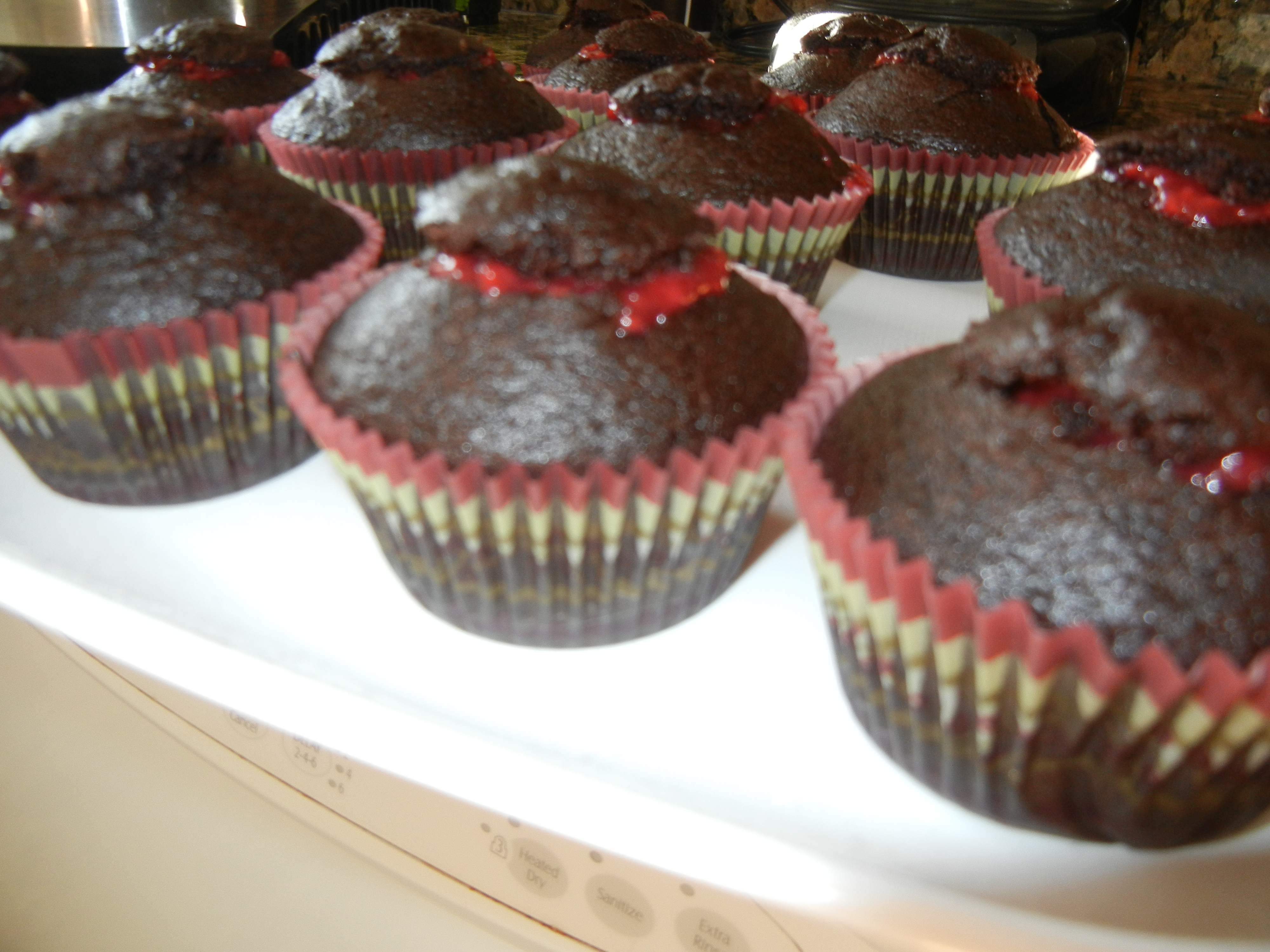 Chocolate Cupcakes with Raspberry Filling