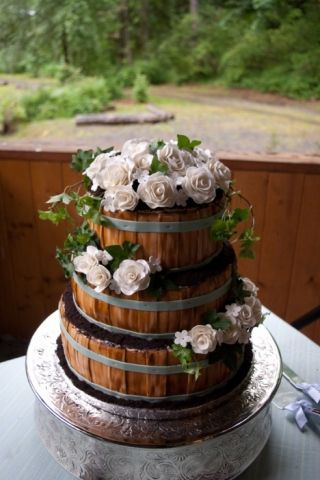 Country Wedding Barrel Cake