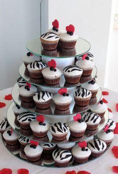 Cupcake Wedding Cake Red Black and White