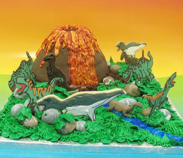 Dinosaur with Volcano Cake