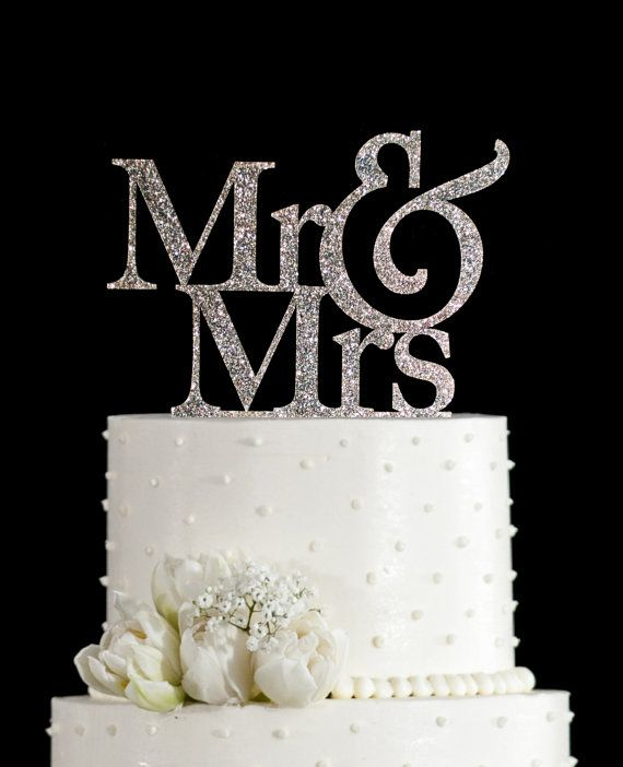 Glitter Wedding Cake Topper