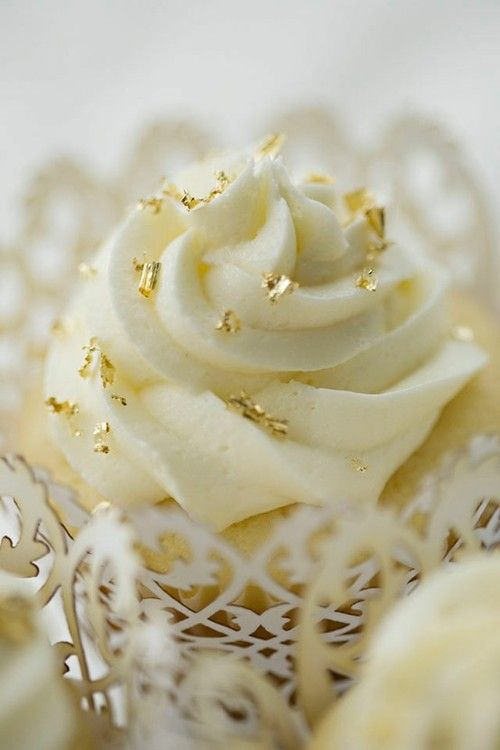 Gold and White Cupcakes with Frosting