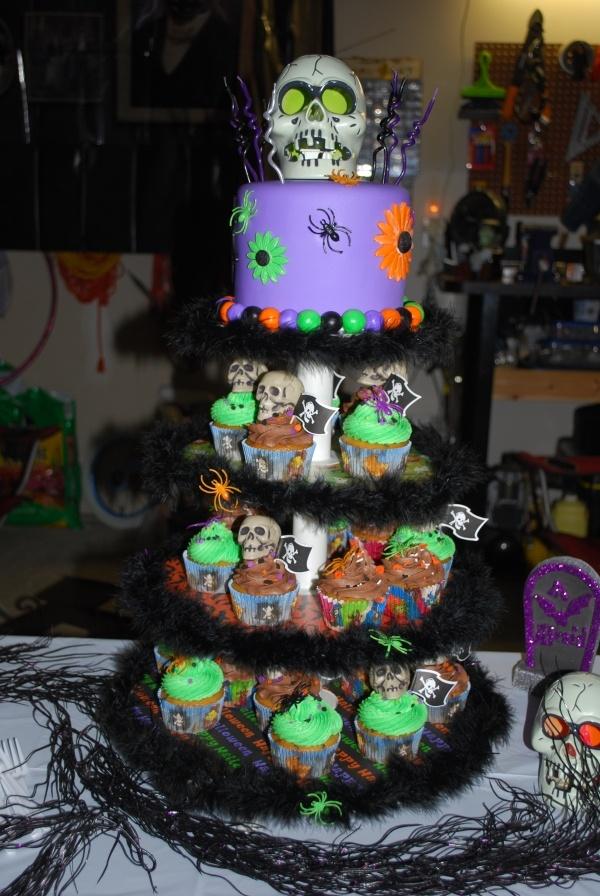 Halloween Birthday Cupcake Tower