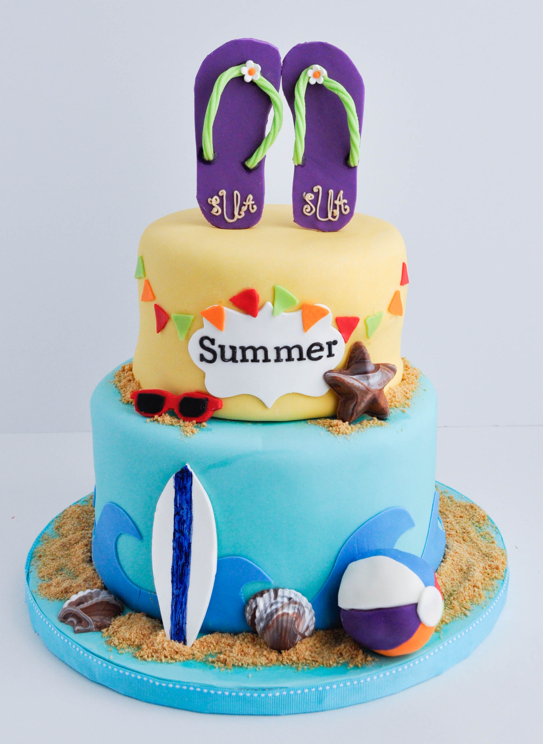 Cool 8 Fondant Cakes For Summer Photo Summer Fondant Cake Ideas Personalised Birthday Cards Bromeletsinfo