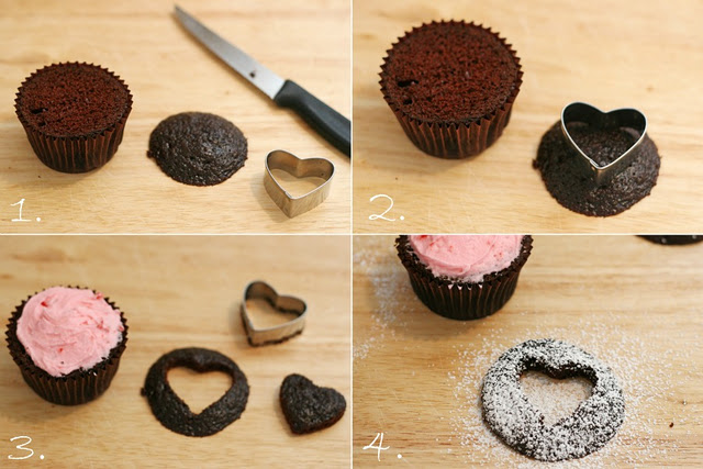 Heart Cutout Cupcakes