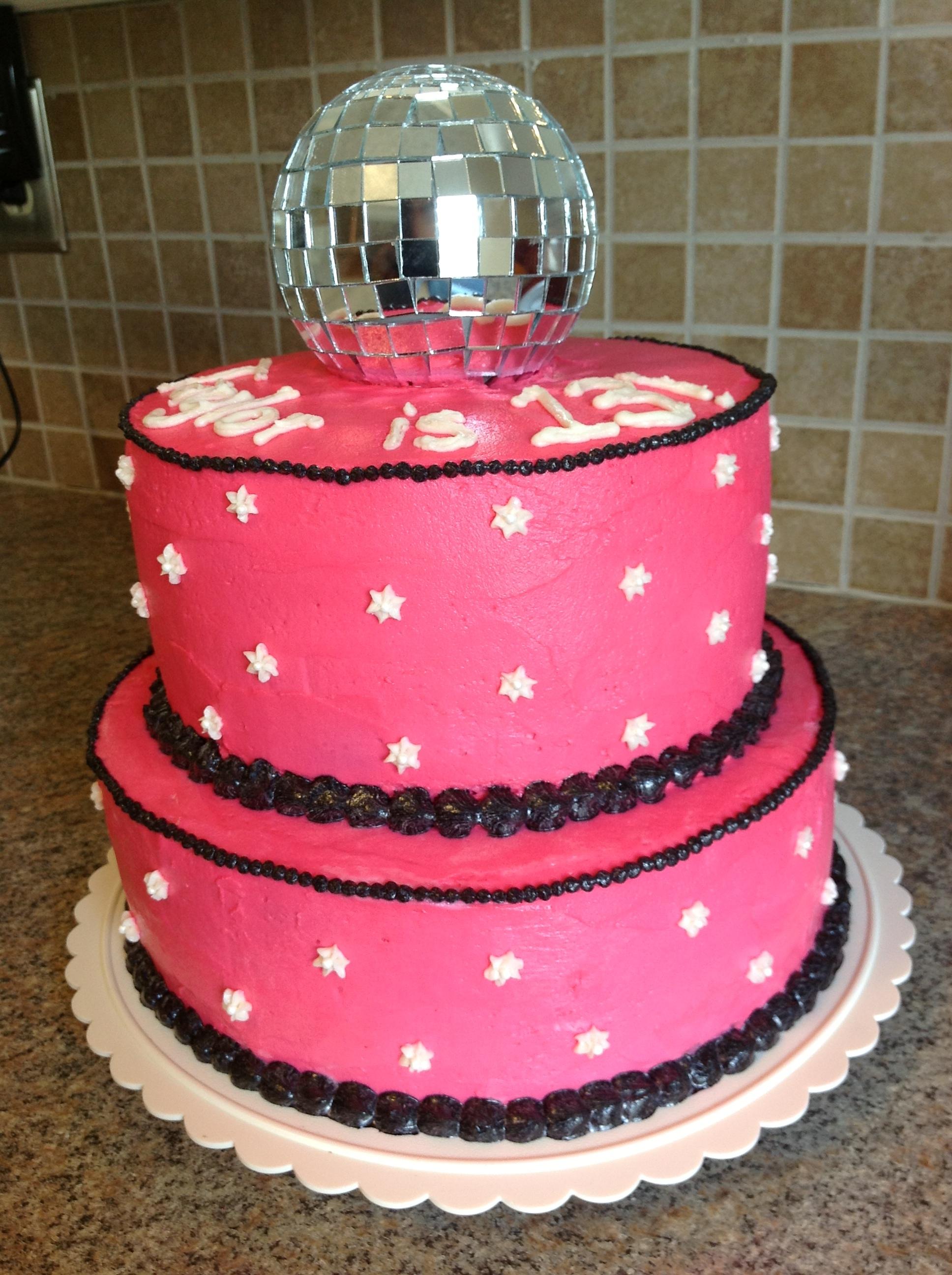 Hot Pink Disco Ball Cake