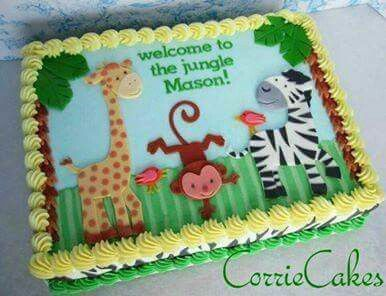Jungle Animal Baby Shower Sheet Cakes