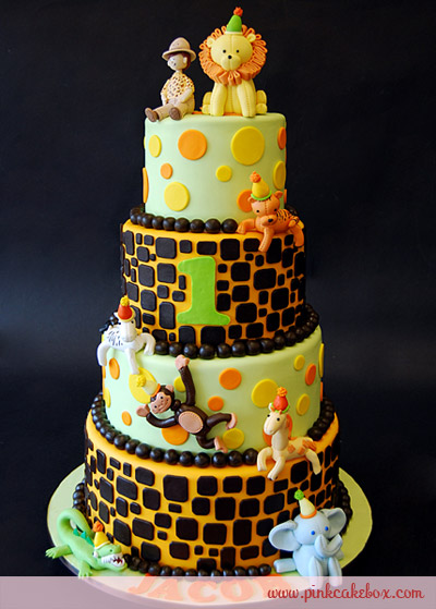 Jungle Theme 1st Birthday Party Cake