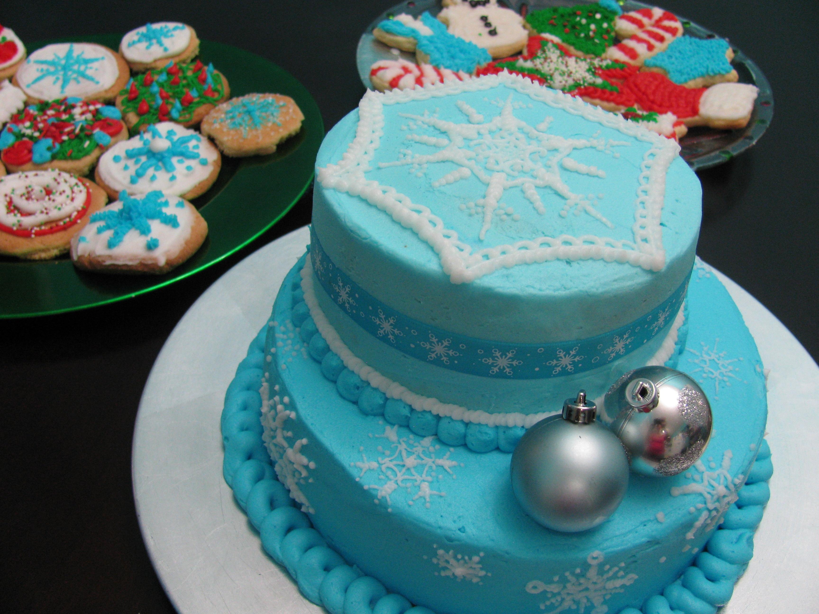 Light Blue Snowflake Cake