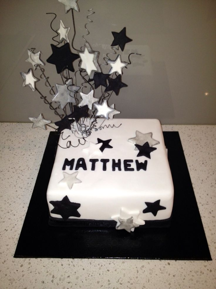 Male Black and Silver Birthday Cakes