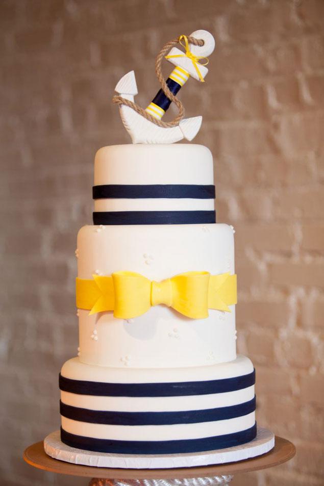 Nautical Navy and Yellow Wedding Cake