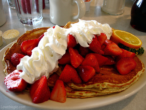 Pancakes with Strawberries and Whip Cream