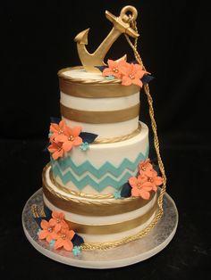 Peach and Gold Birthday Cake