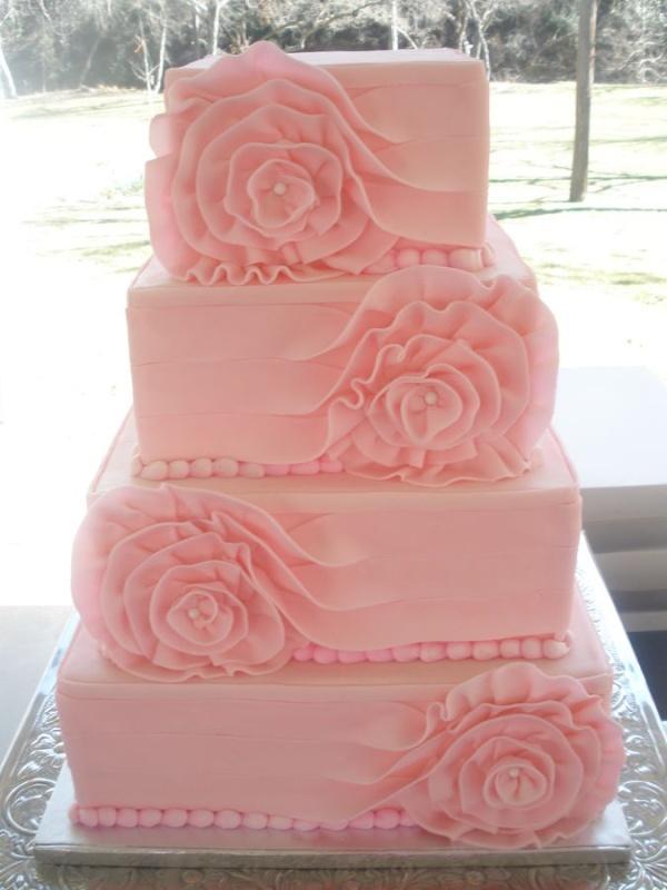 Pink 4 Tier Square Cake