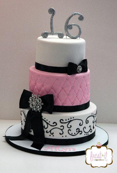 Pink and Black Sweet 16 Birthday Cake