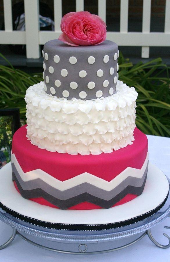 Pink and Gray Chevron Cake