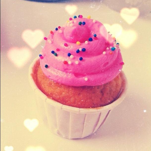 Pink Cupcake with Rainbow Sprinkles