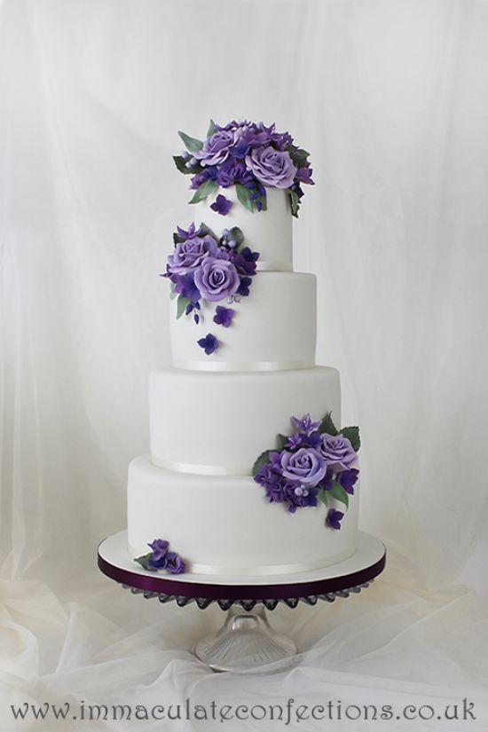 Purple and Lavender Roses Wedding Cake