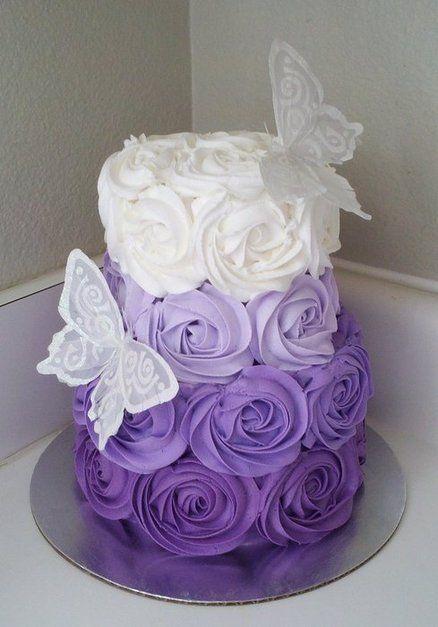 Purple Ombre Rosette Birthday Cake