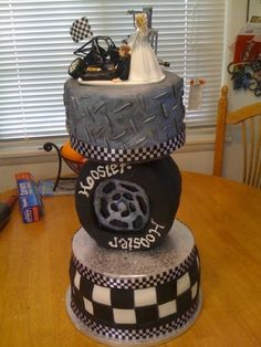 Race Car Themed Wedding Cake