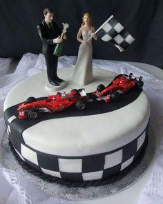 Racing Stripes Wedding Cake