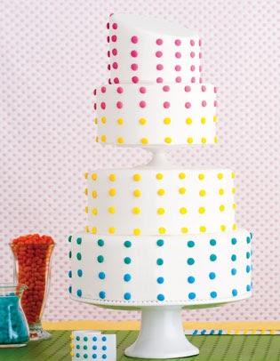 Rainbow Dots Wedding Cakes