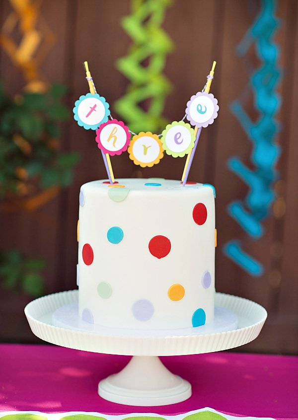 Rainbow Polka Dot Birthday Cake