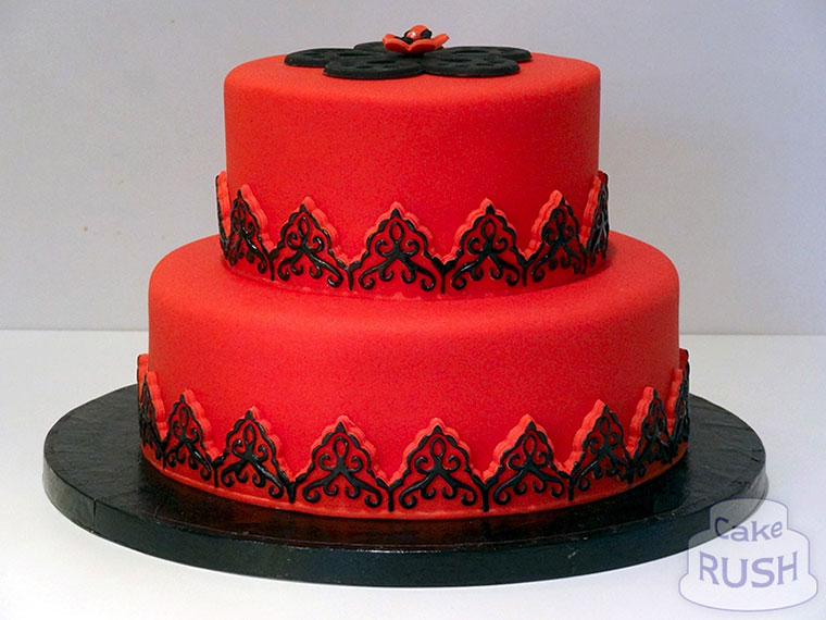 Red and Black Birthday Cake