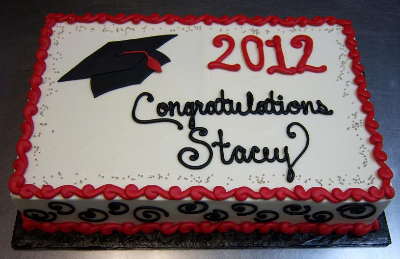 Red and Black Graduation Sheet Cakes